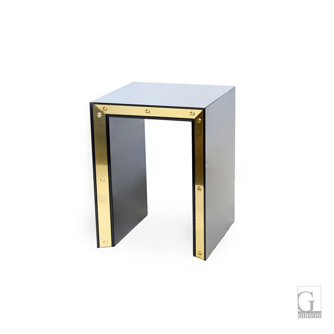 Black Lacquer And Brass Side Table.